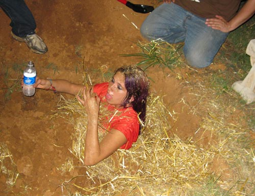 One of our actresses in the course of being buried alive for a vampire-birth scene.