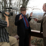John Johnson films while David Harscheid (L) and T. Eric Hart (R) have a little chat. Filmed at the Betsy Bell Mountain overlook.
