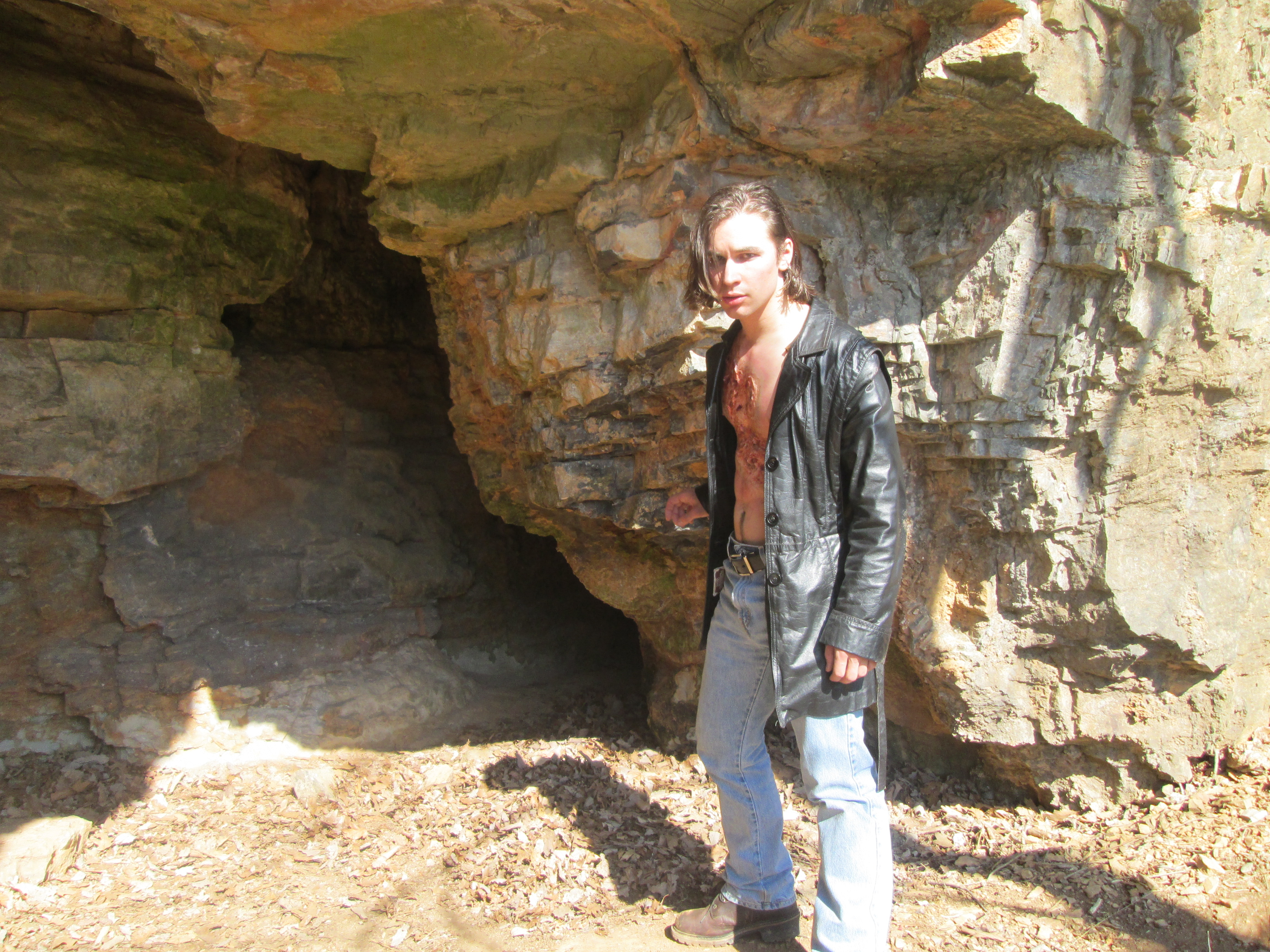 Sam Lukowski, playing Robin, prepares to enter the cave system at Natural Chimneys.