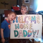 Thomas and Owen took time out from their busy diarrhea schedule this morning to welcome me home.