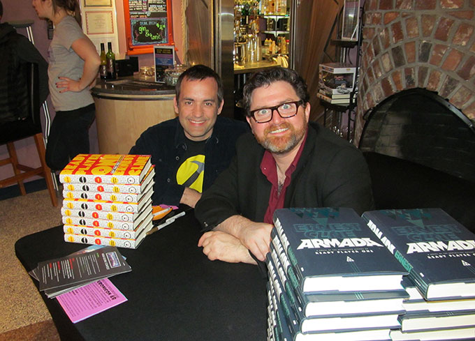 Getting Armada signed by Ernest Cline. Yes, those are his real eyes.