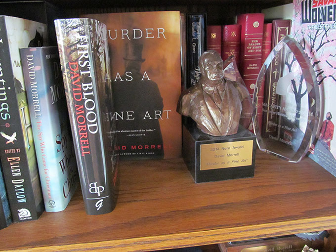 Some of David Morrell's literary awards for Murder as a Fine Art.