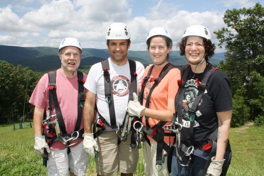Deena and I spent a day ziplining at Bryce Resort with our good friends Keith Minnion (pink shirt) and Nanci Kalanta (black shirt).