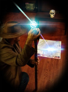 Actual action photo of me using the Staff of Ra to locate the treasure.